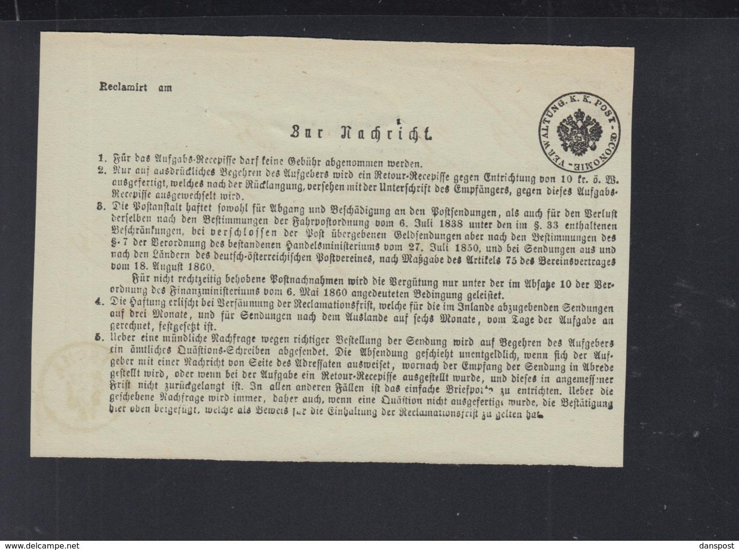 KuK Einlieferungsschein Ischl 1875 - Briefe U. Dokumente