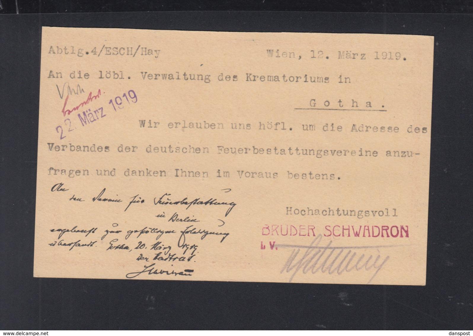 KuK Frage-Karte 1919 Nach Deutschland - Ganzsachen