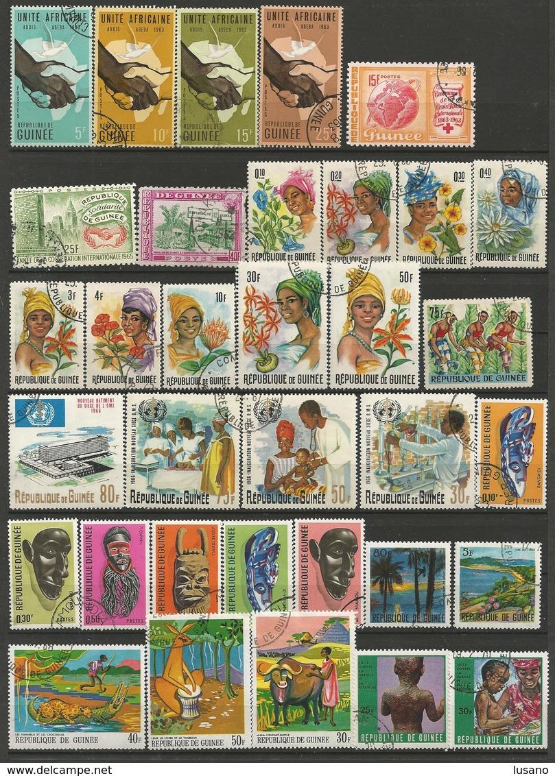 République De Guinée - Lot De Timbres Oblitérés (avec Quelques Neufs) - Timbres