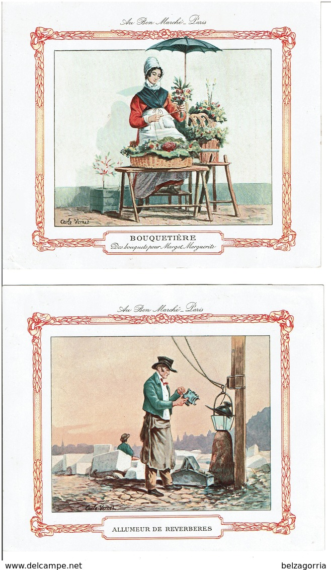 AU BON MARCHE - LOT De 7 Grandes Chromos - Illustrateur Carle VERNET -  VOIR SCANS - Au Bon Marché