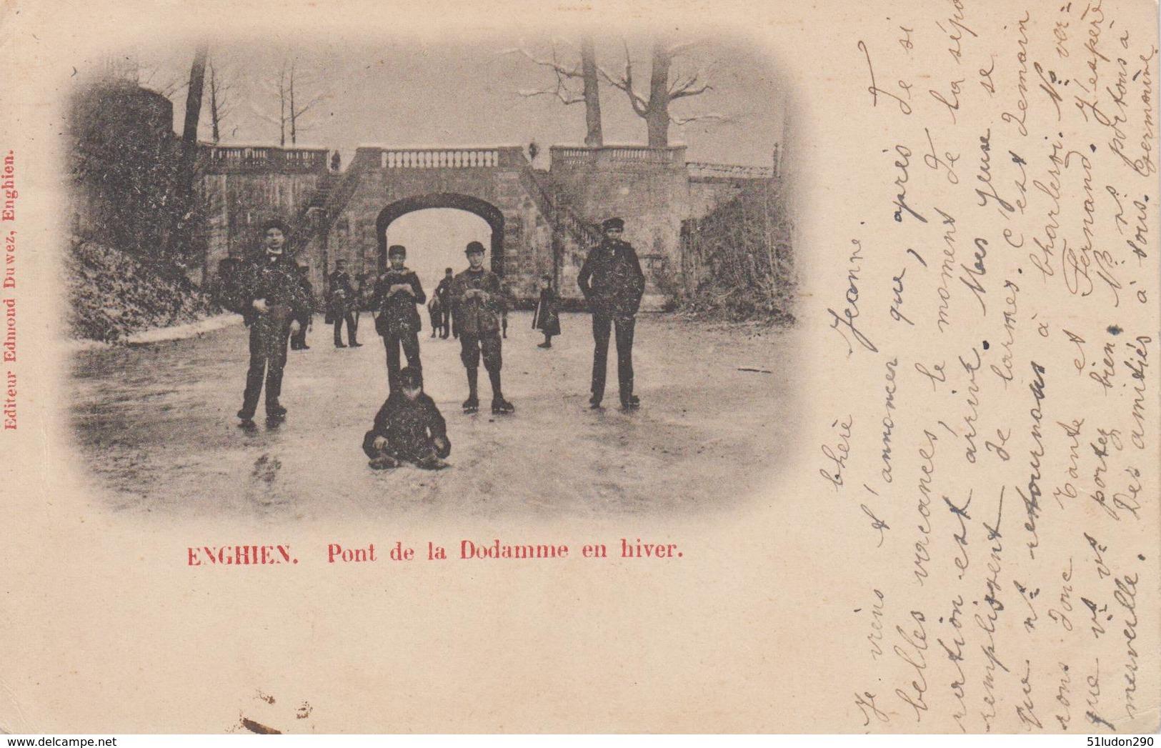 CPA Précurseur Enghien - Pont De La Dodamme En Hiver (jolie Animation Sous La Neige) - Enghien - Edingen