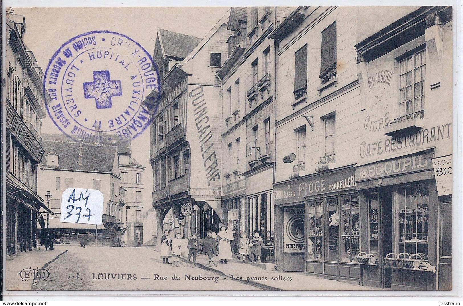 LOUVIERS- RUE DU NEUBOURG- LES AVANTS-SOLIERS- CACHET TEMPORAIRE DE L HOPITAL AUXILIAIRE 17- RARE- 1916 - Louviers