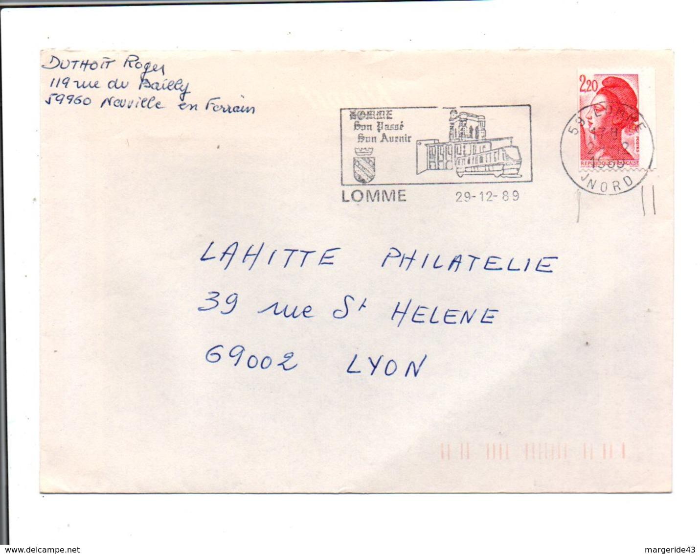 FLAMME DE LOMME NORD 1989 - Marcophilie (Lettres)