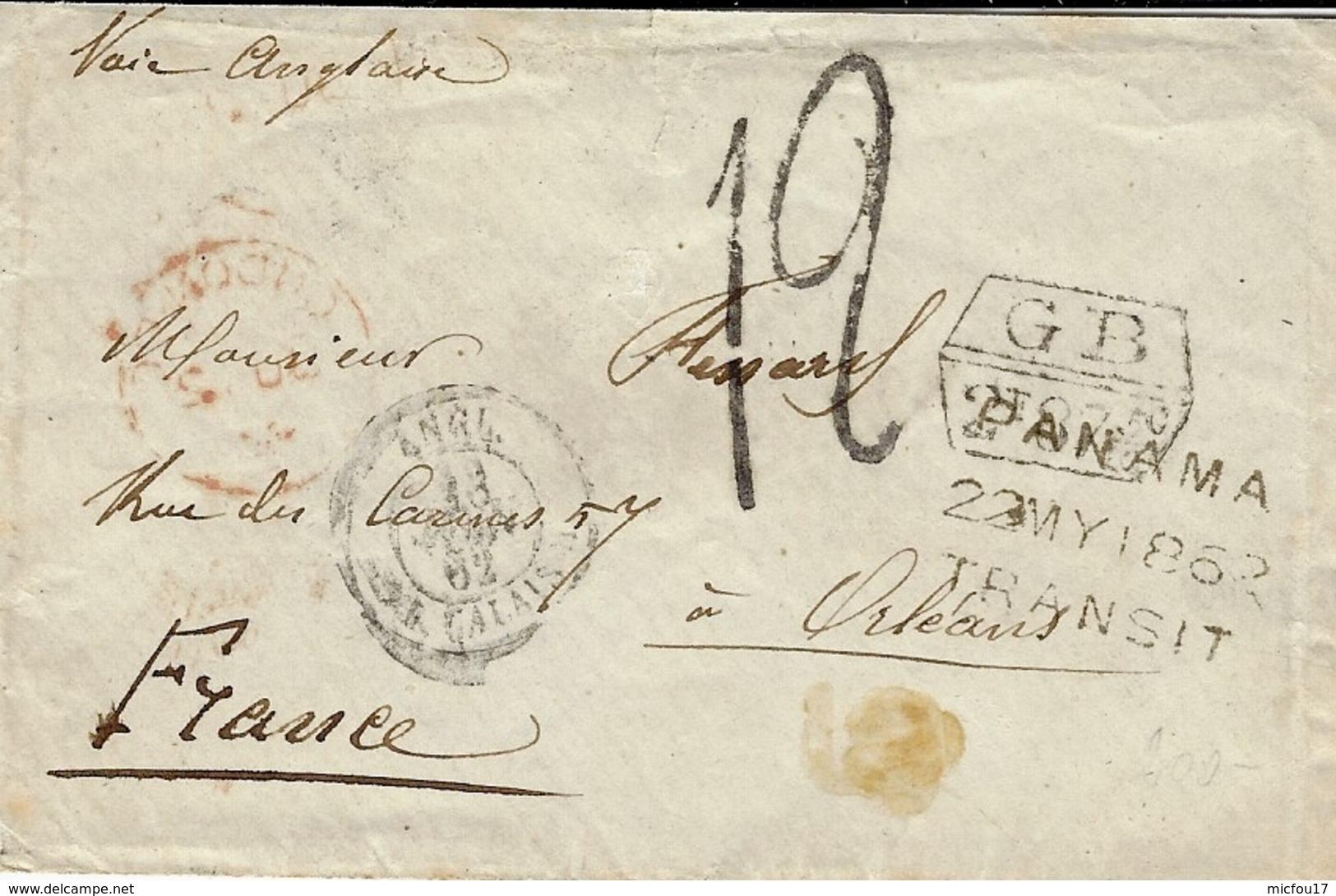 1862- Env. D'Amérique Du Sud Pour Orléans - Marque G B / 1f 87 5/10 Encadré Taxe 12 + PANAMA /22 MY 1862 /TRANSIT - Postmark Collection (Covers)