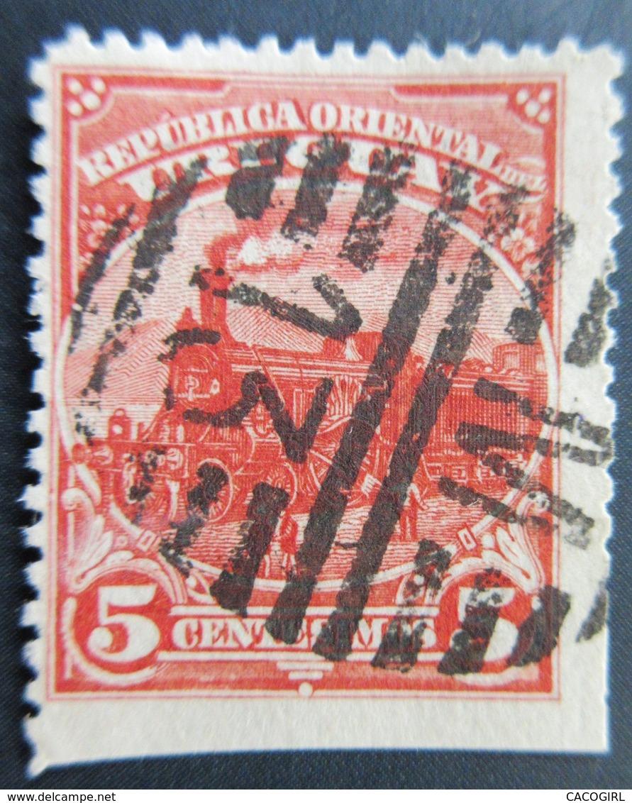1895 URUGUAY Mi:UY 102, Sn:UY 112, Yt:UY 105. Locomotive . Country Motifs 1895. Belle Oblitération - Uruguay