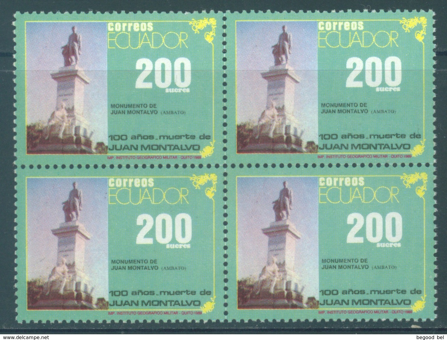 ECUADOR - MNH/** - 1989 - JUAN MONTALVO BLOC OF 4 STAMPS - Yv 1194 -  Lot 18453 - Equateur