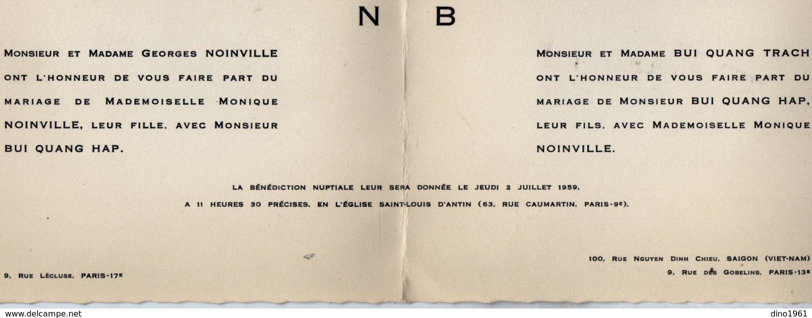 VP13.532 - PARIS X SAIGON 1959 - Faire - Part De Mariage De Mr BUI QUANG HAP & Melle Monique NOINVILLE - Mariage