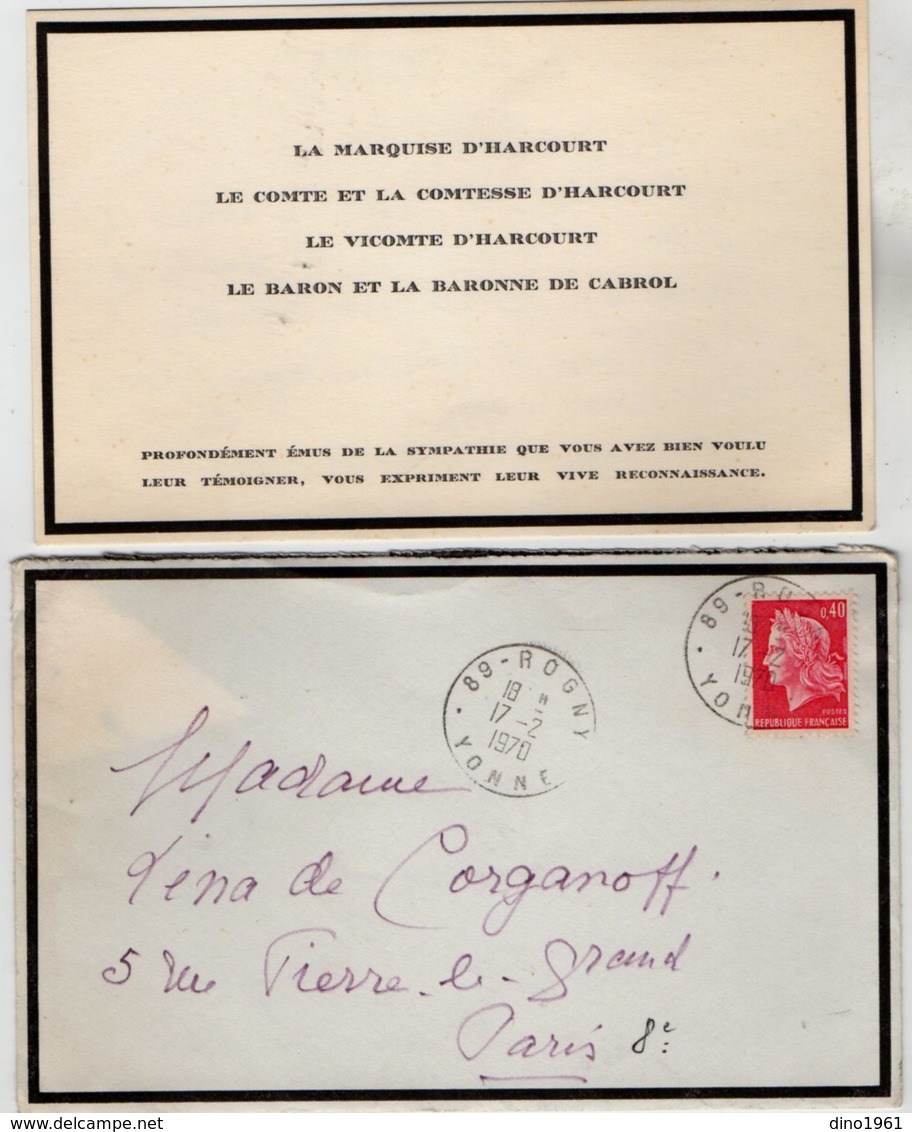 VP13.534 - SAINT - EUSOYE 1970 - Noblesse - Autographe De Mme La Marquise D'HARCOURT - Autographes