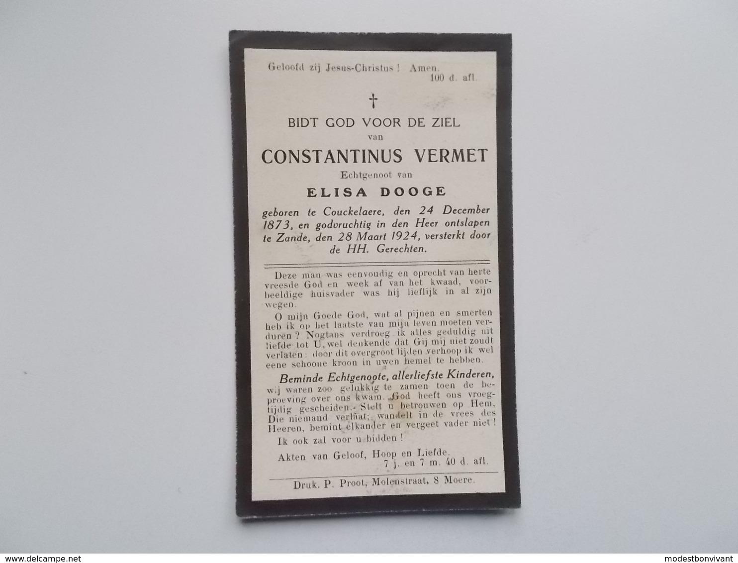 Oud Bidprentje: Constantinus VERMET Echtg. Elisa DOOGE, Couckelaere24/12/1873 - Zande 28/3/1924 - Esquela
