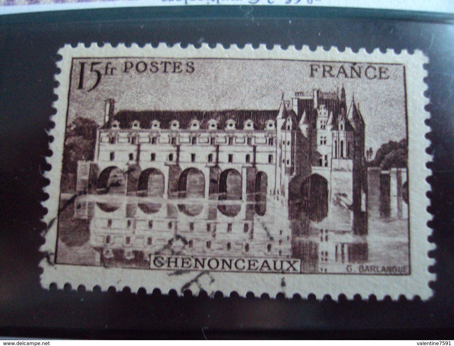 """1900-1945-timbre Oblitéré N° 610  Brin Lilas-    """"  Chenonceaux  15 F""""     Cote  0.65      Net 0.20 - Oblitérés"""