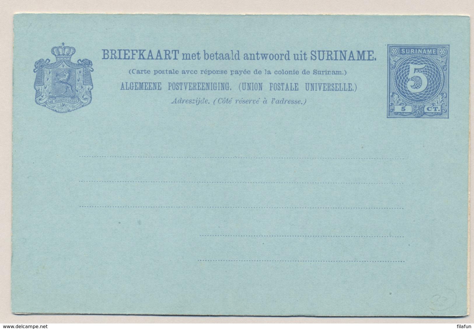 Suriname - 1906 - 5+5 Cent Cijfer, Briefkaart G14 - Ongebruikt - Suriname ... - 1975