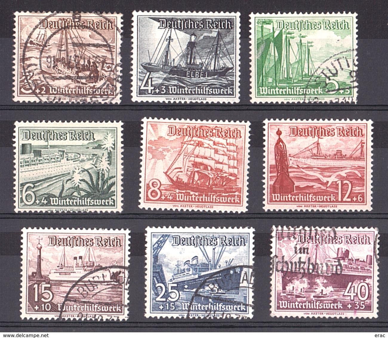 Allemagne - 1937 - N° 594 à 602 - Neufs * Et Oblitérés - Secours D'hiver - Bateaux - Allemagne