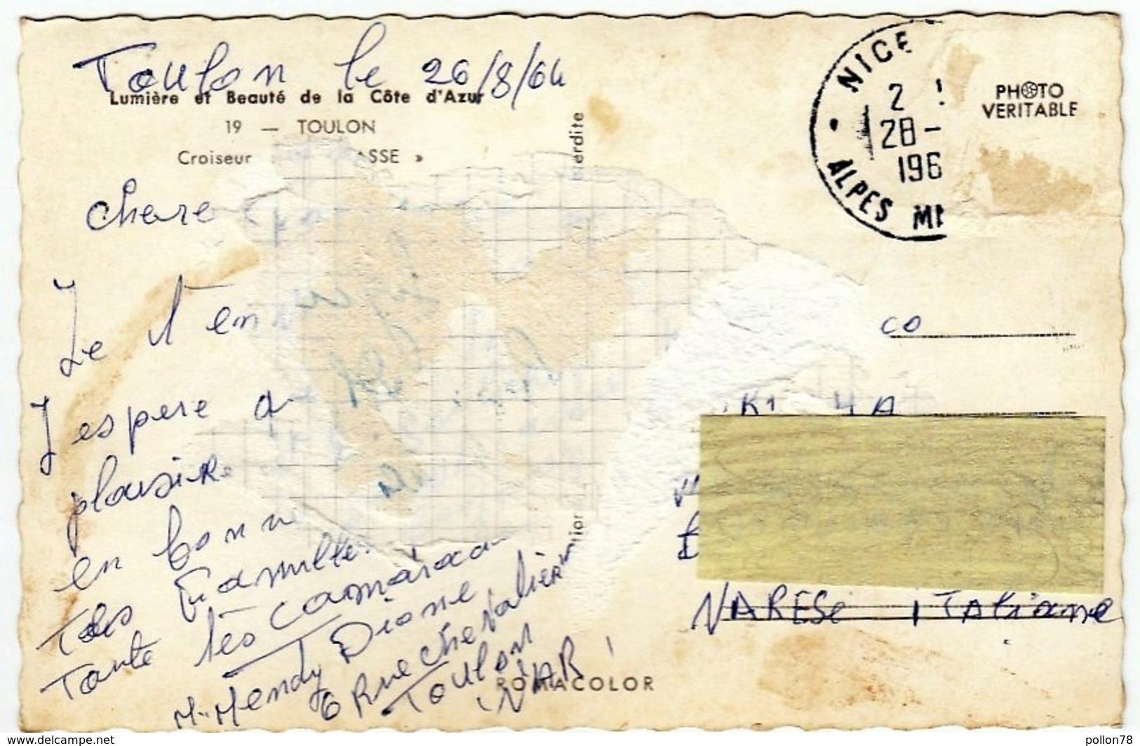 NAVI - INCROCIATORI - CROISEUR DE GRASSE - TOULON - 1964 - Vedi Retro - Formato Piccolo - Guerra