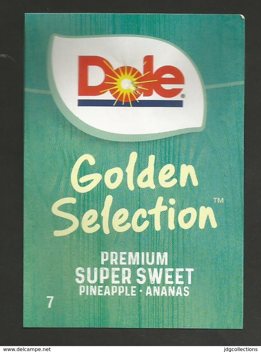 # PINEAPPLE DOLE GOLDEN SELECTION Size 7 Fruit Tag Balise Etiqueta Anhanger Ananas Pina Costa Rica - Fruits & Vegetables