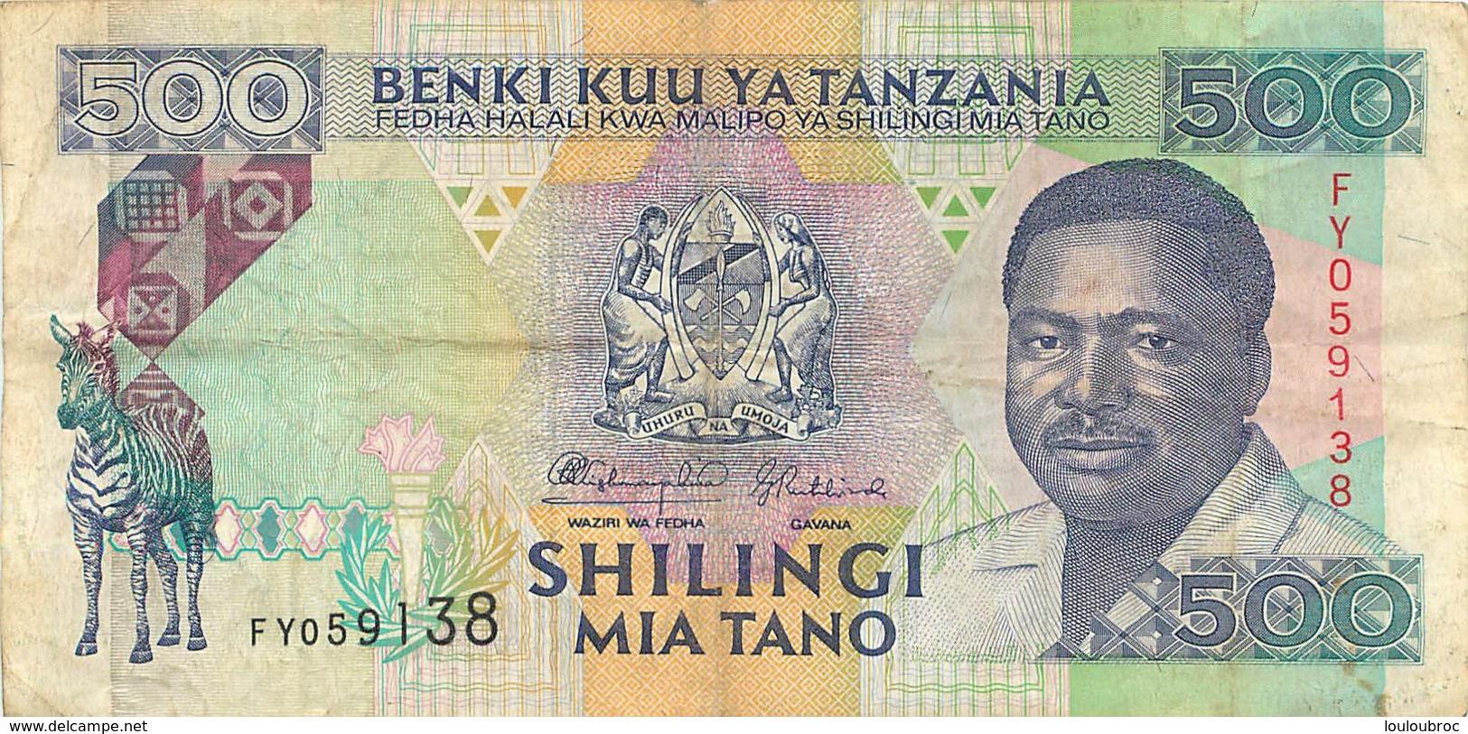 BILLET  TANZANIE TANZANIA  VALEUR 500 - Tanzanie