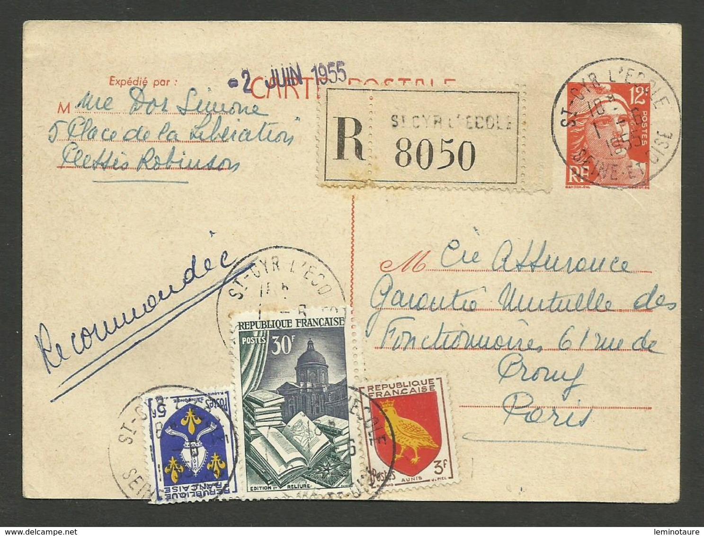 Entier Carte Postale 12F Marianne De Gandon & Blason / Recommandé ST CYR L'ECOLE 01.06.1955 - Marcophilie (Lettres)