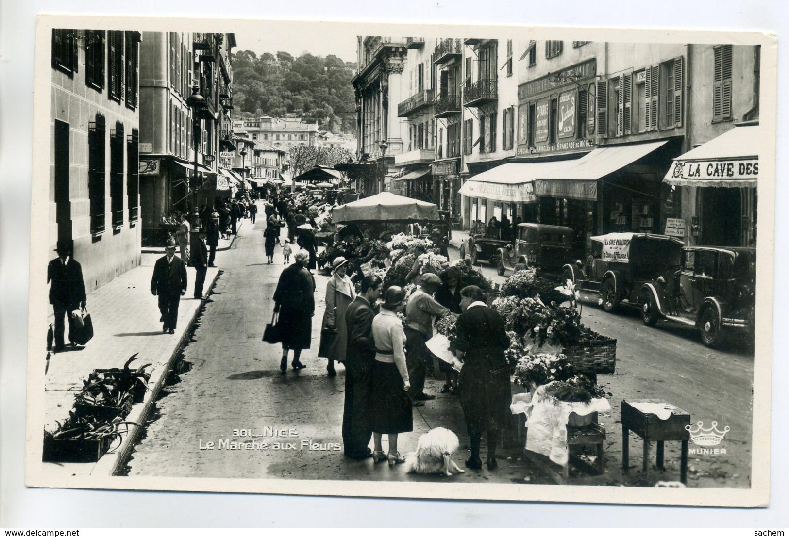 06 NICE  Le Marché Aux Fleurs Dans La Rue Automobiles Anim écrite En 1949      /D06-2017 - Non Classés