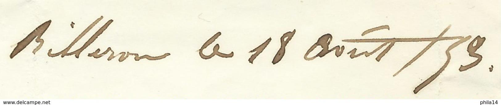 N° 10 NAPOLEON ND SUR LETTRE / SANCERGUES BILLERON CHER / 1853 POUR LOMBEZ - 1849-1876: Période Classique