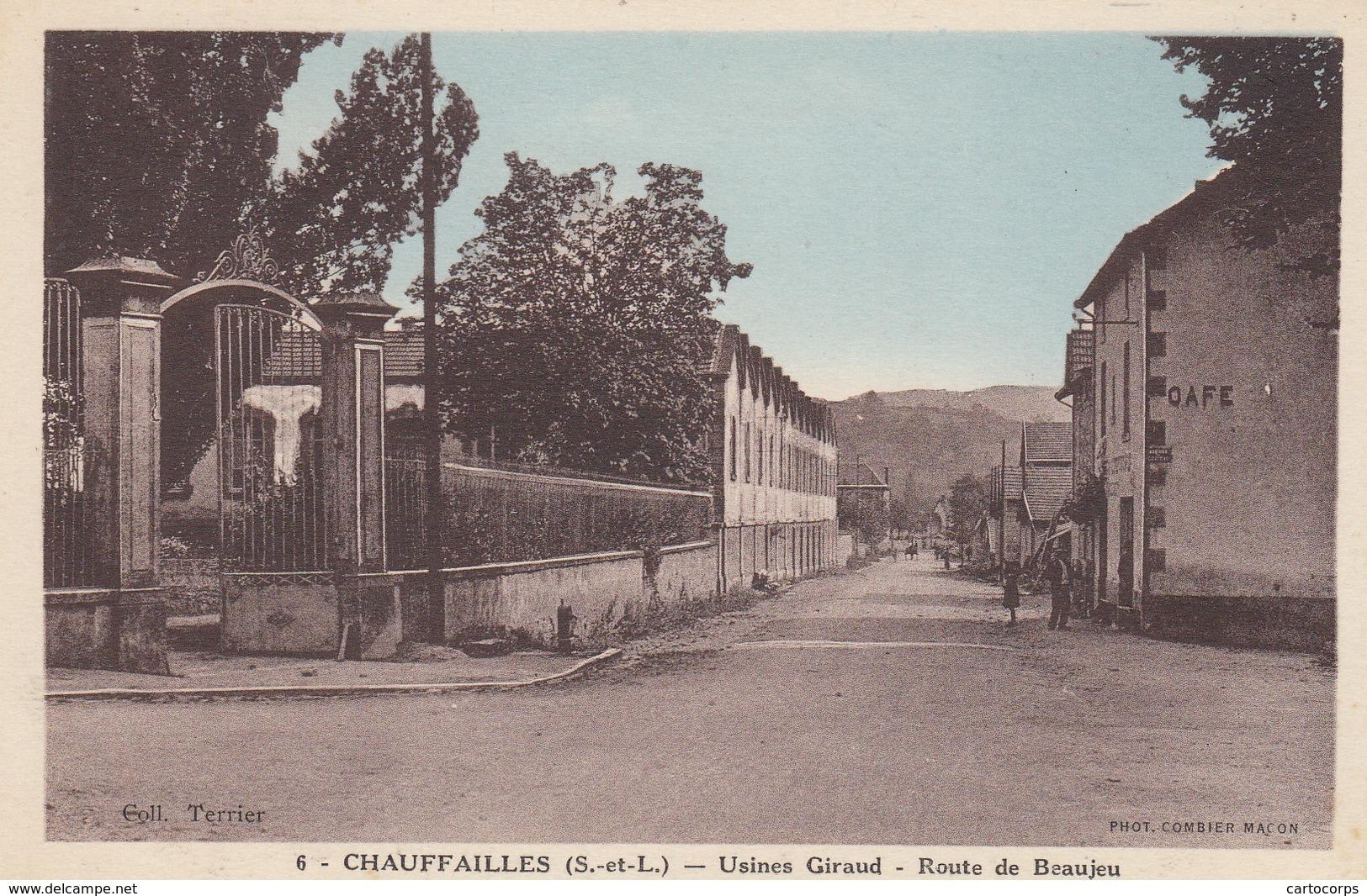 71 - Chauffailles - Usines Giraud - Route De Beaujeu - Carte Colorisée - France