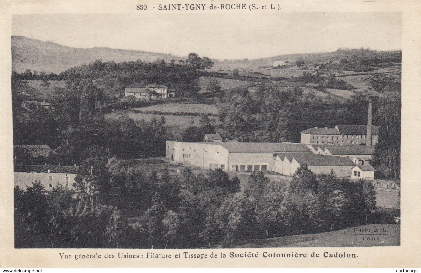71 - St-Ygny-de-Roche - Un Beau Panorama Des Usines : Filature - Tissage De La Société Cotonnière De Cadolon - Autres Communes