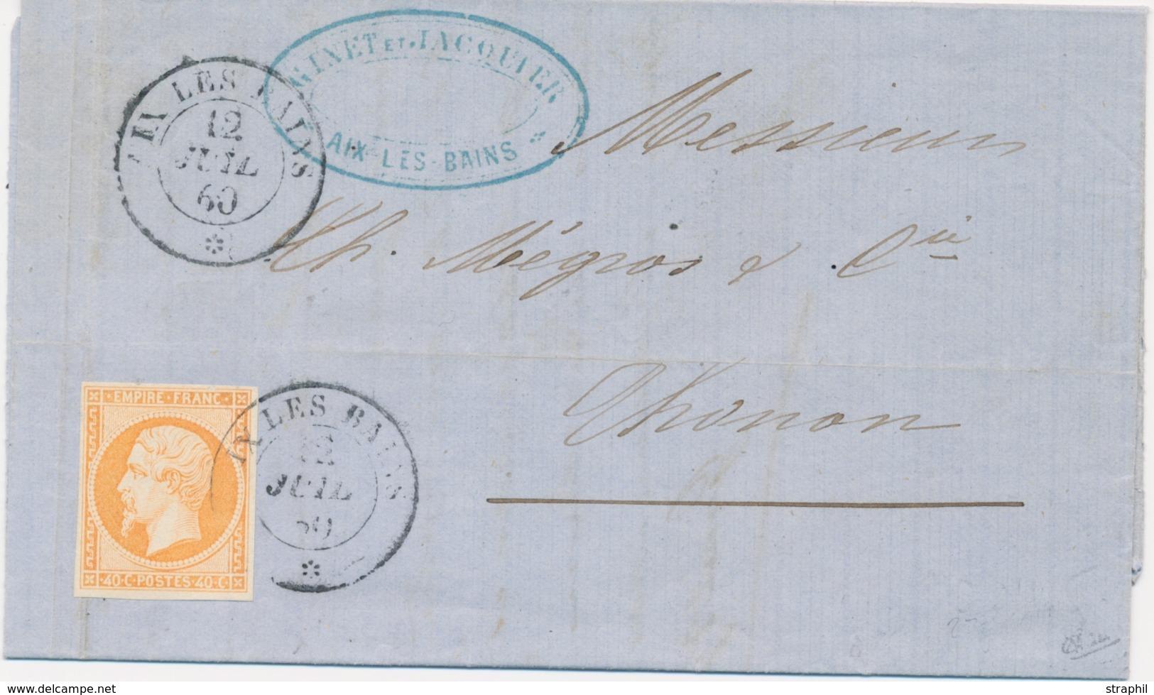 LAC Emission Napoléon Non Dentelé Sur Lettre - LAC - N°16 Obl Aix Les Bains - 12/07/60 Pour Thonon - Signé Calves - TB - 1849-1876: Période Classique