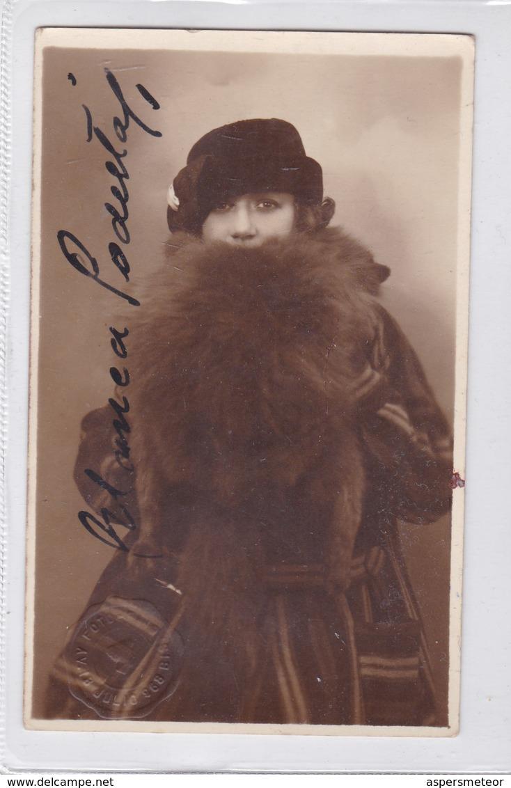 BLANCA PODESTA, ACTRIZ Y PRODUCTORA ARGENTINA. AUTOGRAPHE. YEAR 1929 SIZE 9x14cm- BLEUP - Autographes