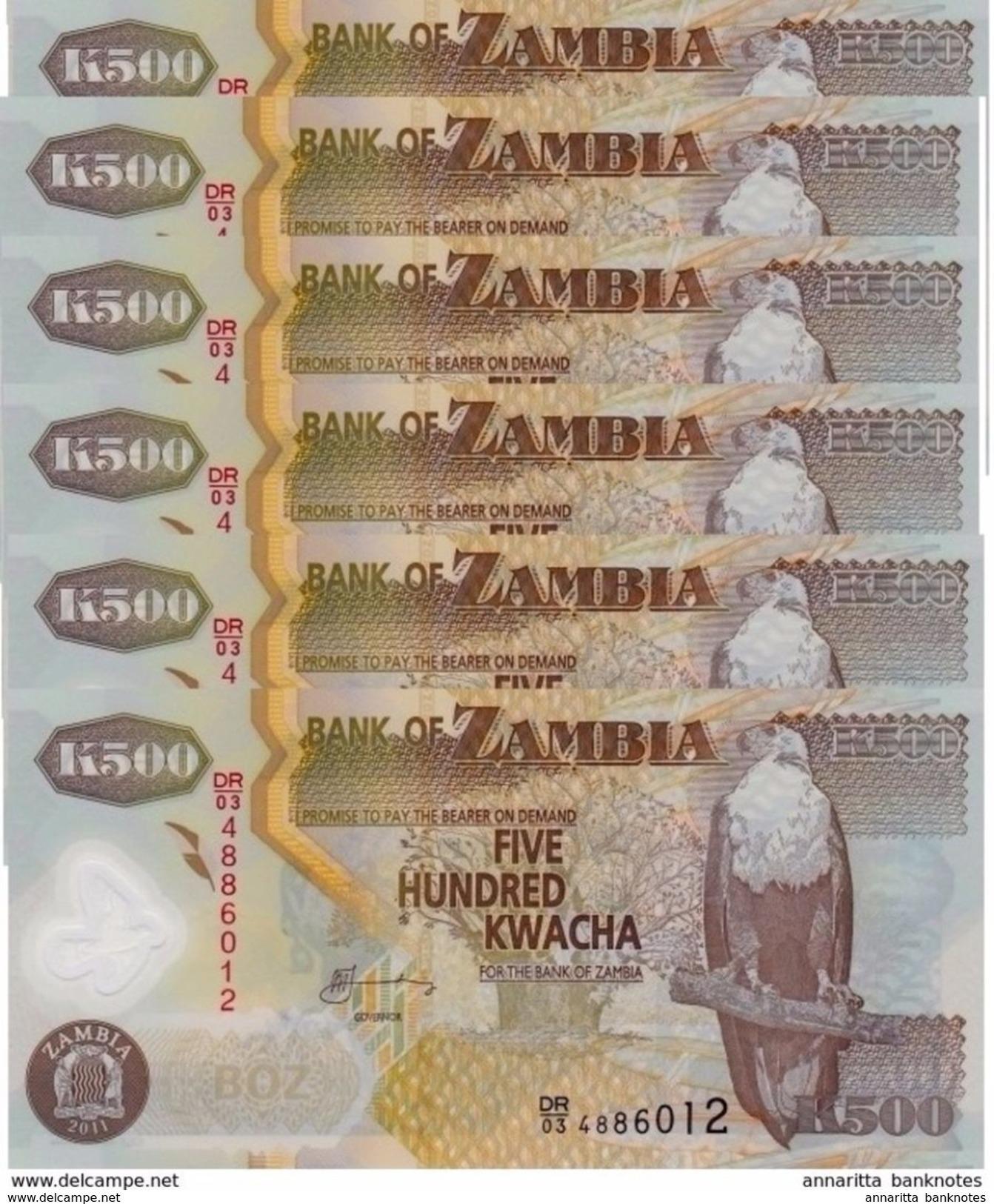 ZAMBIA 500 KWACHA 2011 P-43h UNC 6 PCS  [ZM145h] - Zambia