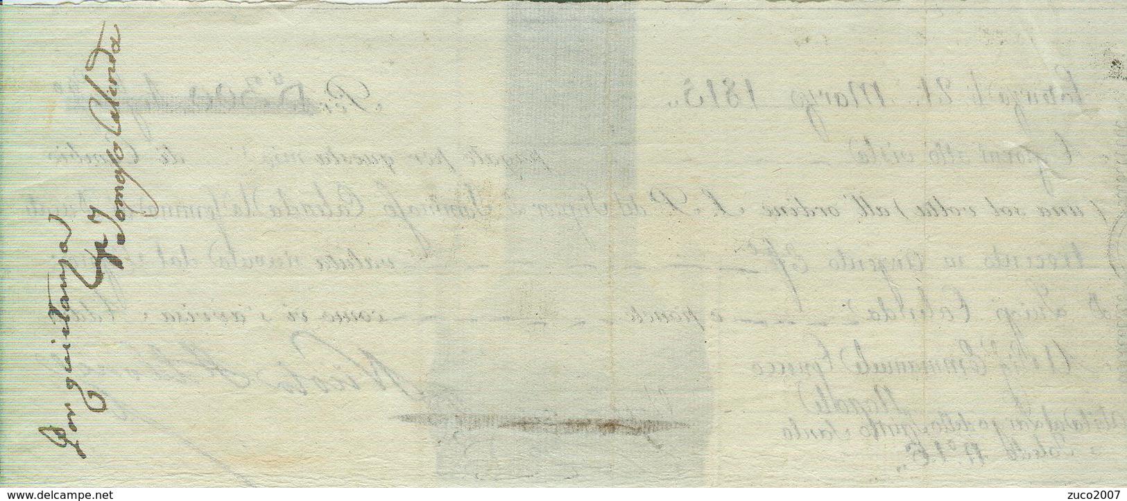 CAMBIALE  EMESSA A POTENZA 21 MARZO 1815, PER DUCATI 300 IN ARGENTO,SCADENZA  A VISTA, - Bills Of Exchange