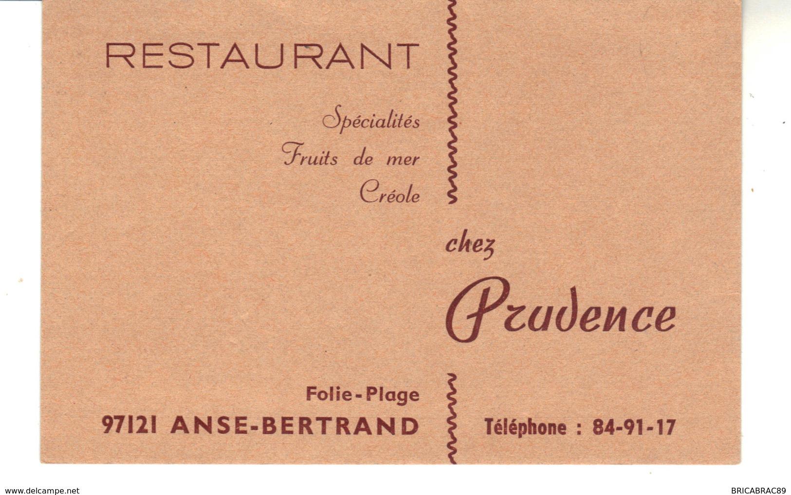 Carte De Visite  Restaurant  97121 Anse-Bertrand  Folie Plage   Chez Prudence - Visiting Cards
