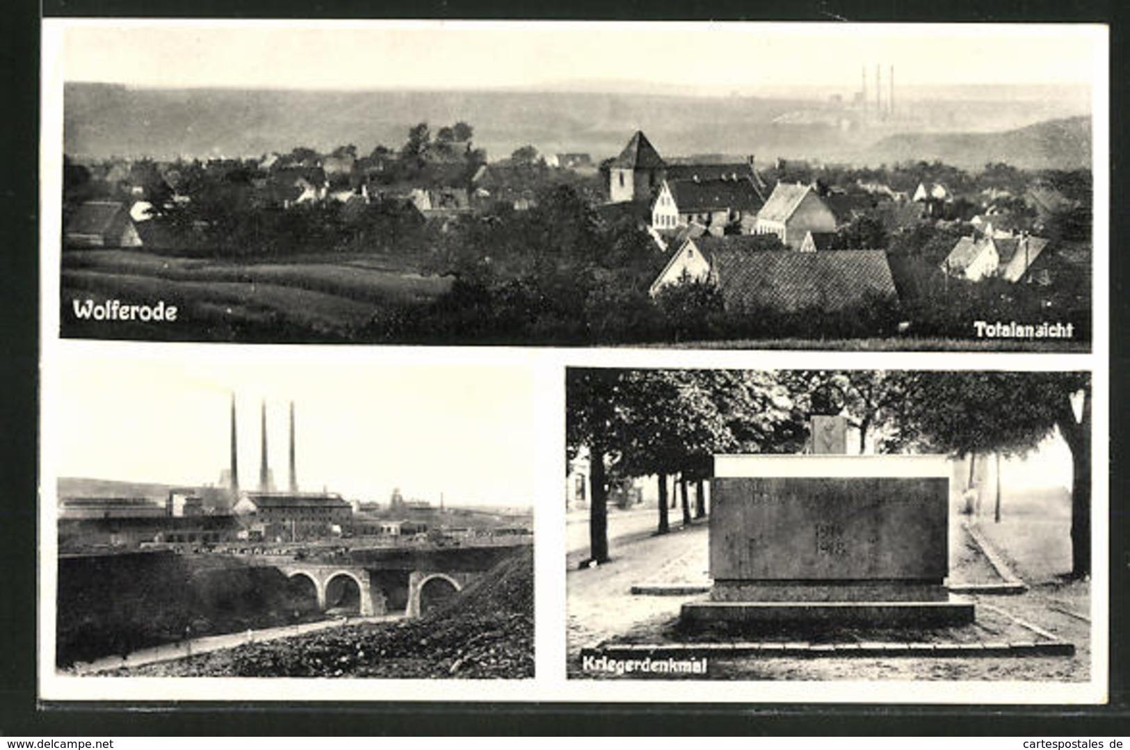 AK Wolferode, Totalansicht, Kriegerdenkmal, Ortspartie - Germany