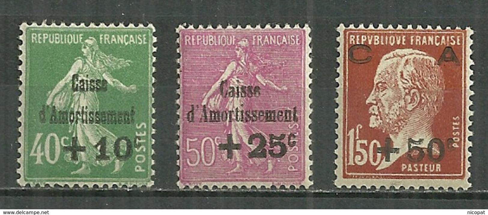 FRANCE MNH ** 253-255 Caisse D'amortissement Semeuse Pasteur - France