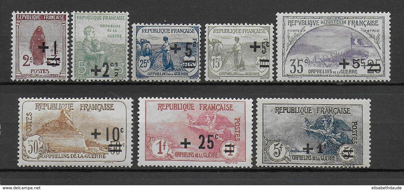 1922 - SERIE ORPHELINS - YVERT N° 162/169 * MLH (CHARNIERE TRES LEGERE) - COTE = 255 EUR. - France