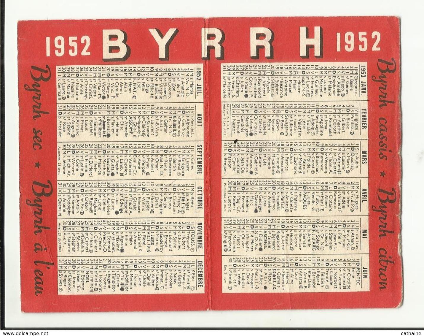 CALENDRIER . 1952 . PUB BYRRH . - Calendriers