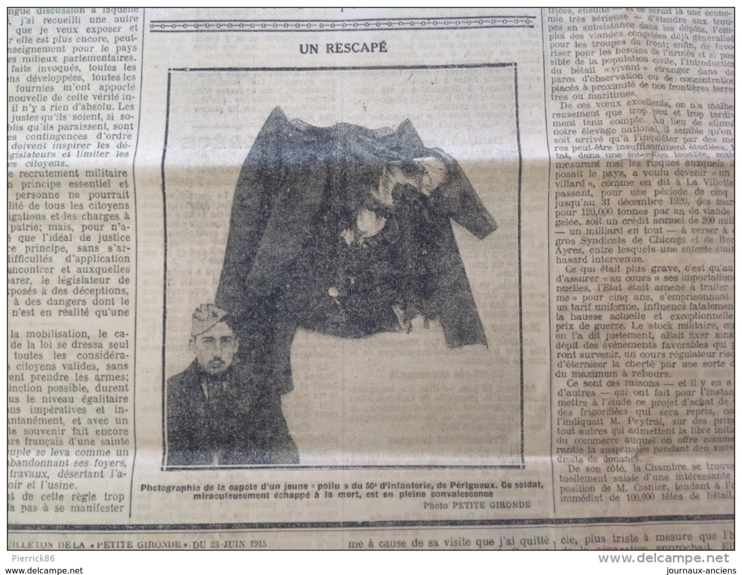WW1 LA PETITE GIRONDE Du 23 Juin 1915 L'ART SUR LE FRONT / UN RESCAPÉ DE PERIGUEUX / A LONDRES - Revues & Journaux