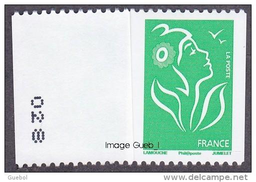 France Roulette N° 3742,A ** Marianne De Lamouche Philaposte - TVP VERT Numéro Au Verso à Gauche - Rollen