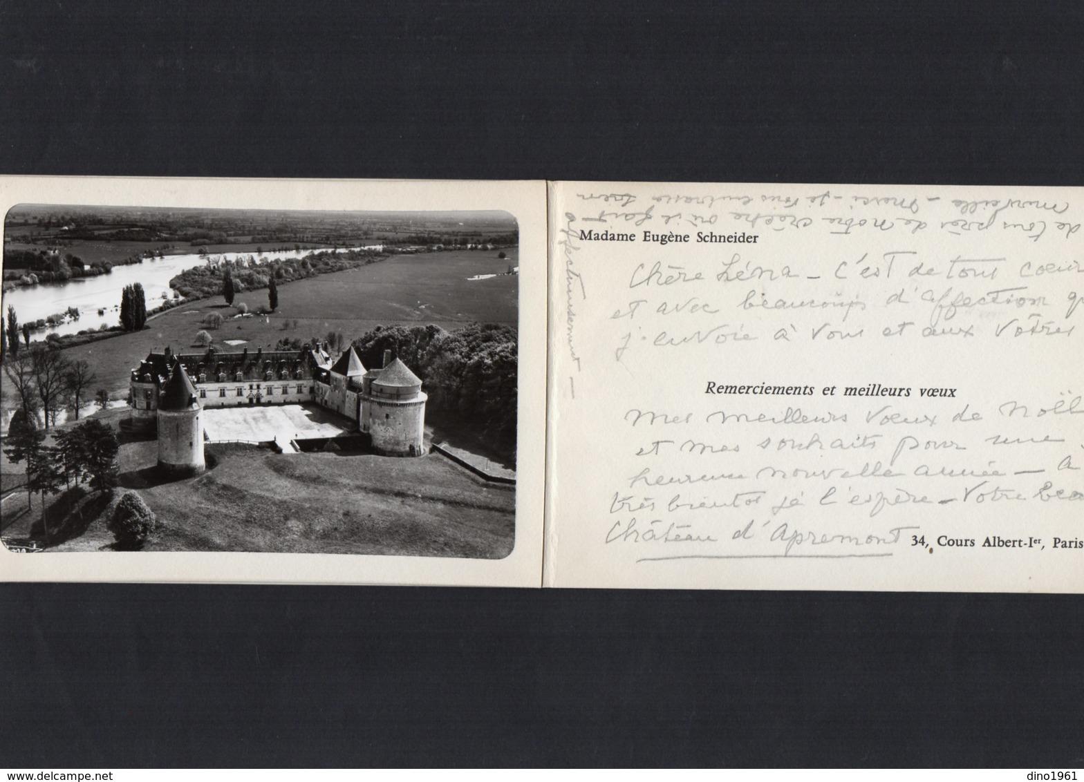 VP13.536 - APREMONT X PARIS  - Noblesse - Autographe De Mme E. SCHNEIDER Né A. De RAFELIS De SAINT - SAUVEUR - Autographes