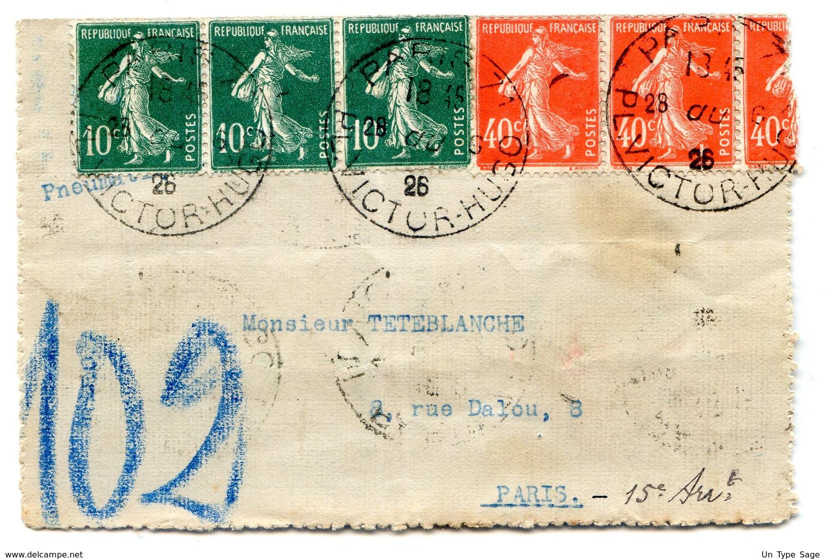 France - Lettre Pneumatique 1926 - Paris 71 - (B1225) - Postmark Collection (Covers)