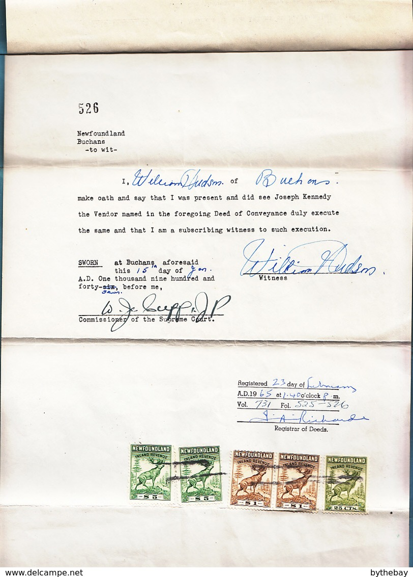 Newfoundland 1947 Deed With Revenues Walsh #NFR42 (2), #NFR40 (Pair), #NFR38 - Fiscaux