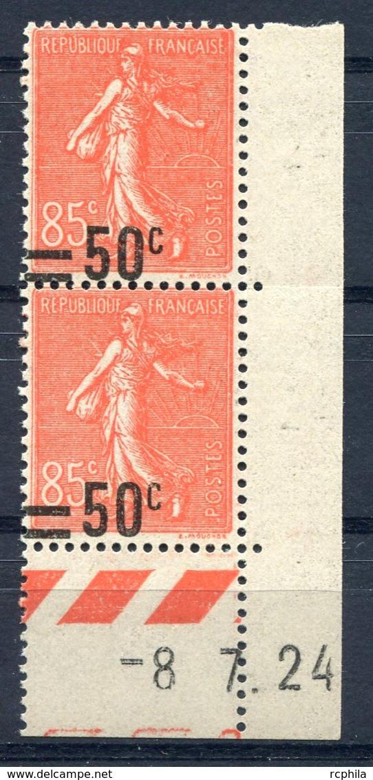 RC 10622 FRANCE N° 221 50c SUR 85c SEMEUSE VARIÉTÉ SURCHARGE DEPLACÉE EN BAS EN PAIRE NEUF ** TB - France