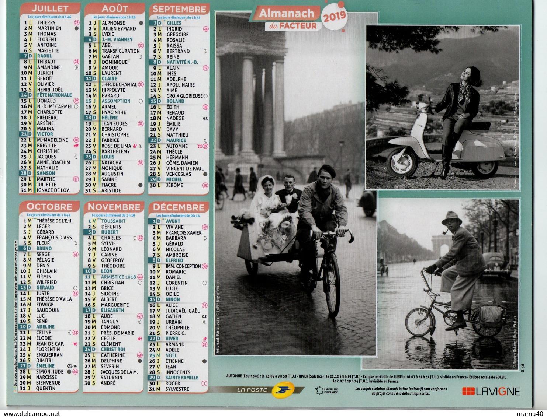 ALMANACH DU FACTEUR - 2019 - VELO TAXI AVEC MARIES - SCOOTER - MOTO - VELOSOLEX - SOLEX - VELO PLIABLE - Grand Format : 2001-...