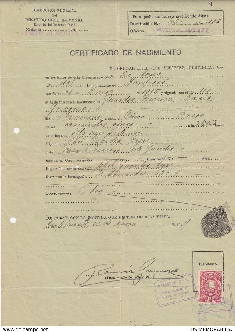 1947 CHILE POZO ALMONTE IQUIQUE BIRTH CERTIFICATE DOCUMENT FINGERPRINT 10 PESOS REVENUE STAMP - Chile