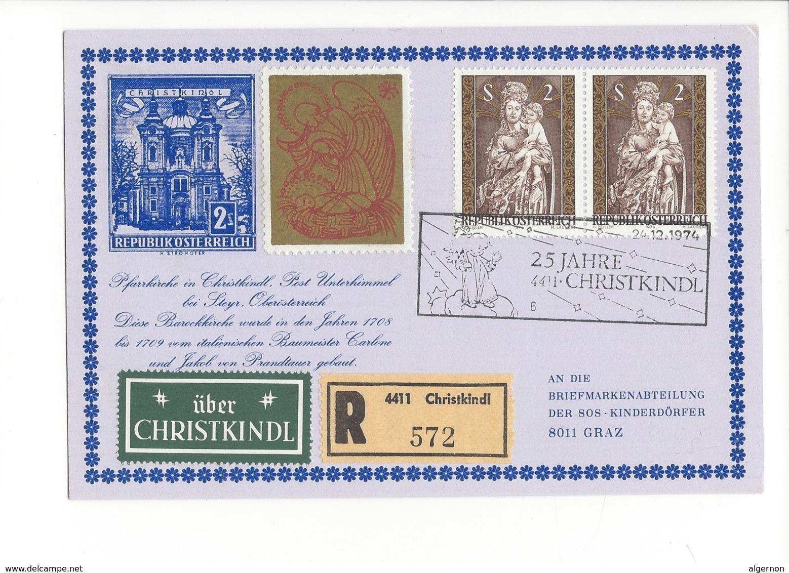 20984 -  Christkindl 24.12.1974 Carte Recommandée Pour Graz+ Vignette über Christkindl 25 Jahre - Noël