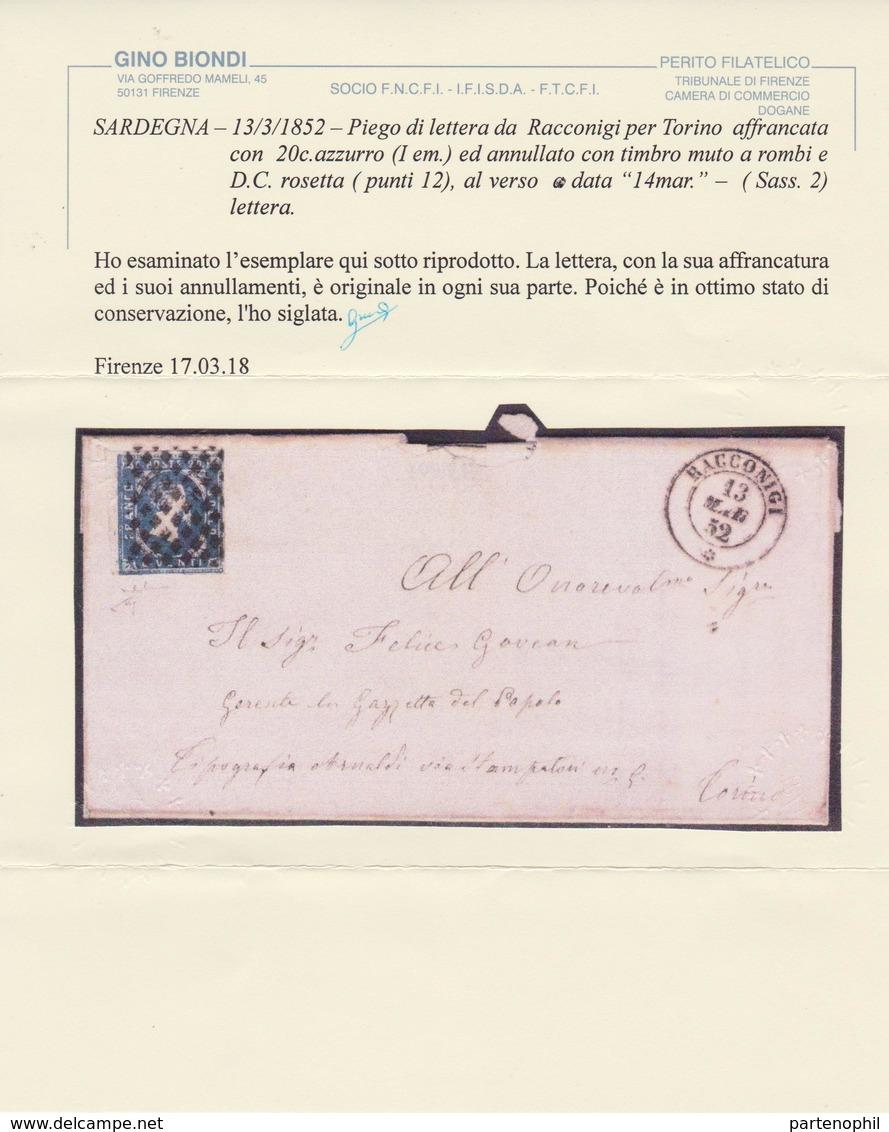 Sardegna - 13/3/52 – Piego Di Lettera Da Racconigi Per Torino, Affrancata Con C .20 Azzurro Annullato Con Muto A Rombi E - Sardinien
