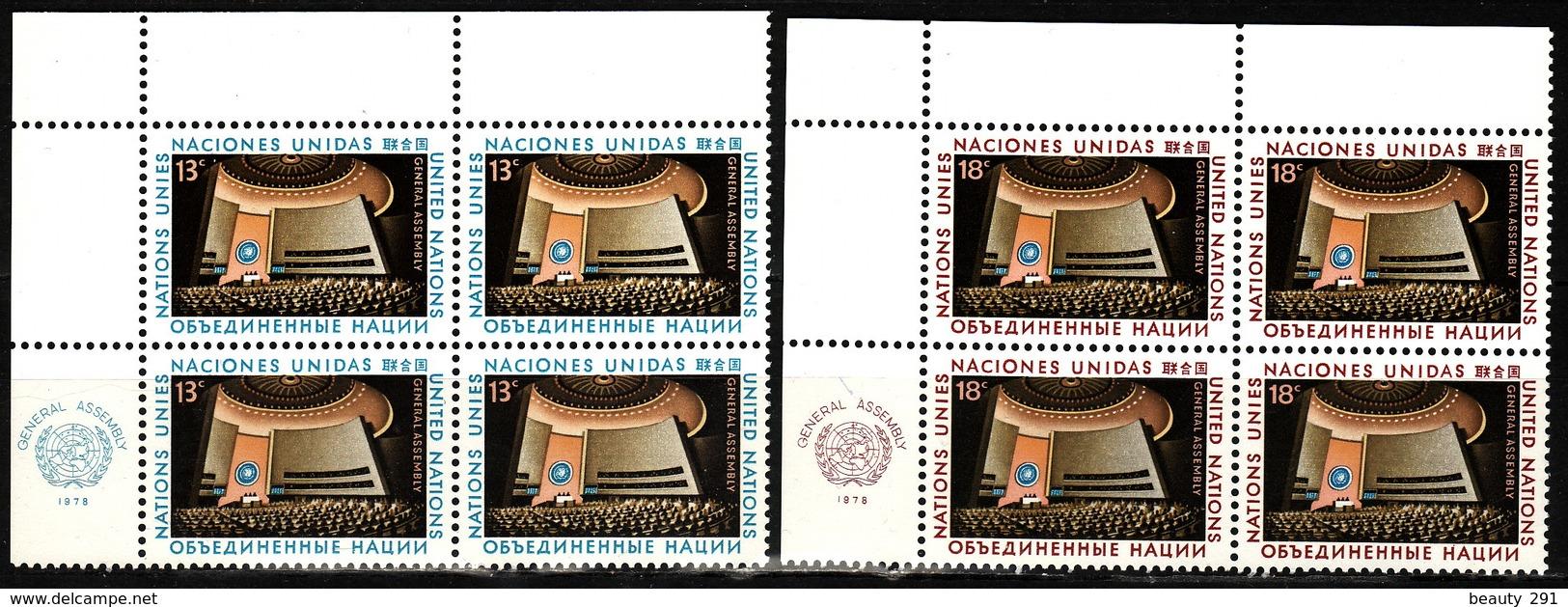 UN NEW YORK - 1978 - Mi 324-325 - BLOCK OF 4 - MNH** VF - New York -  VN Hauptquartier