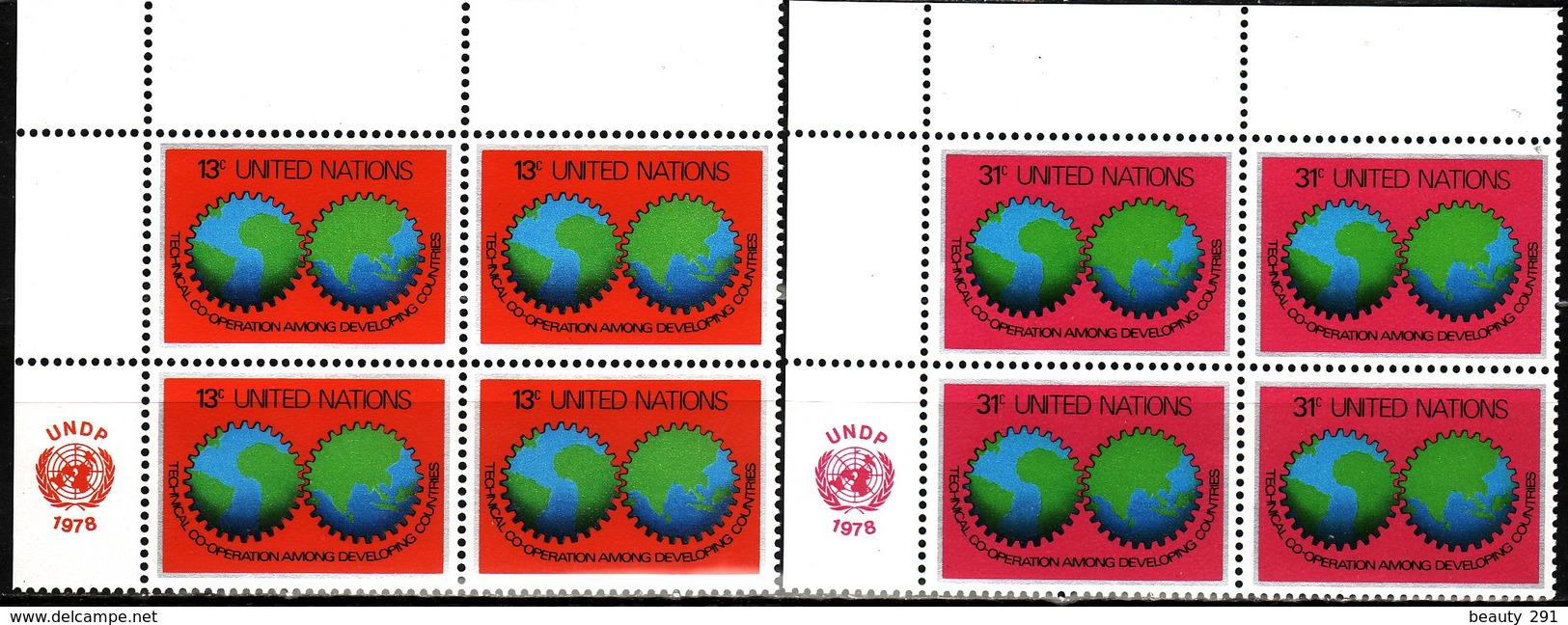 UN NEW YORK - 1978 - Mi 326-327 - BLOCK OF 4 - MNH** VF - New York -  VN Hauptquartier