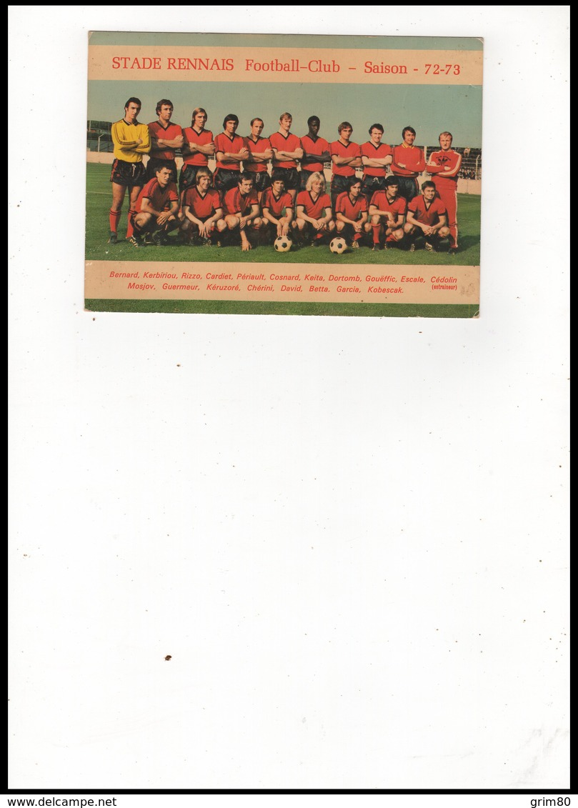 CARTE  STADE  RENNAIS  FOOTBALL CLUB     SAISON  72 - 73    AUTOGRAPHES - Autographes