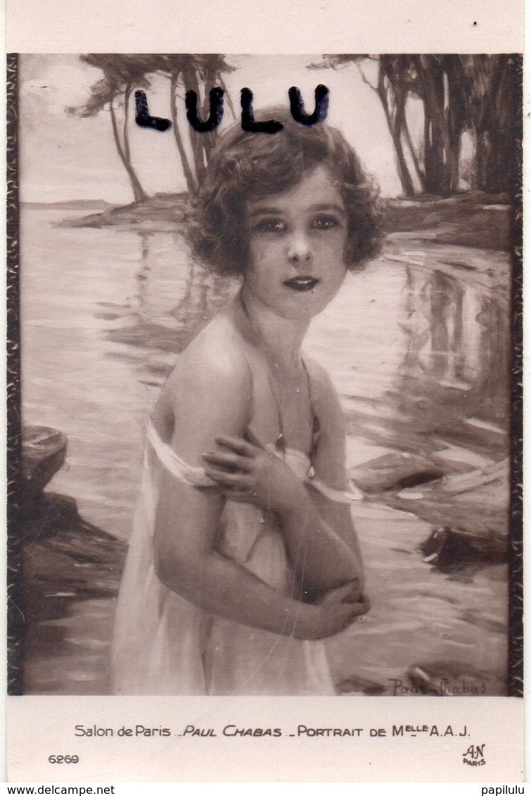 FEMMES 627 : Portrait De Melle A A J Par Paul Chabas ( Salon De Paris ) - Femmes