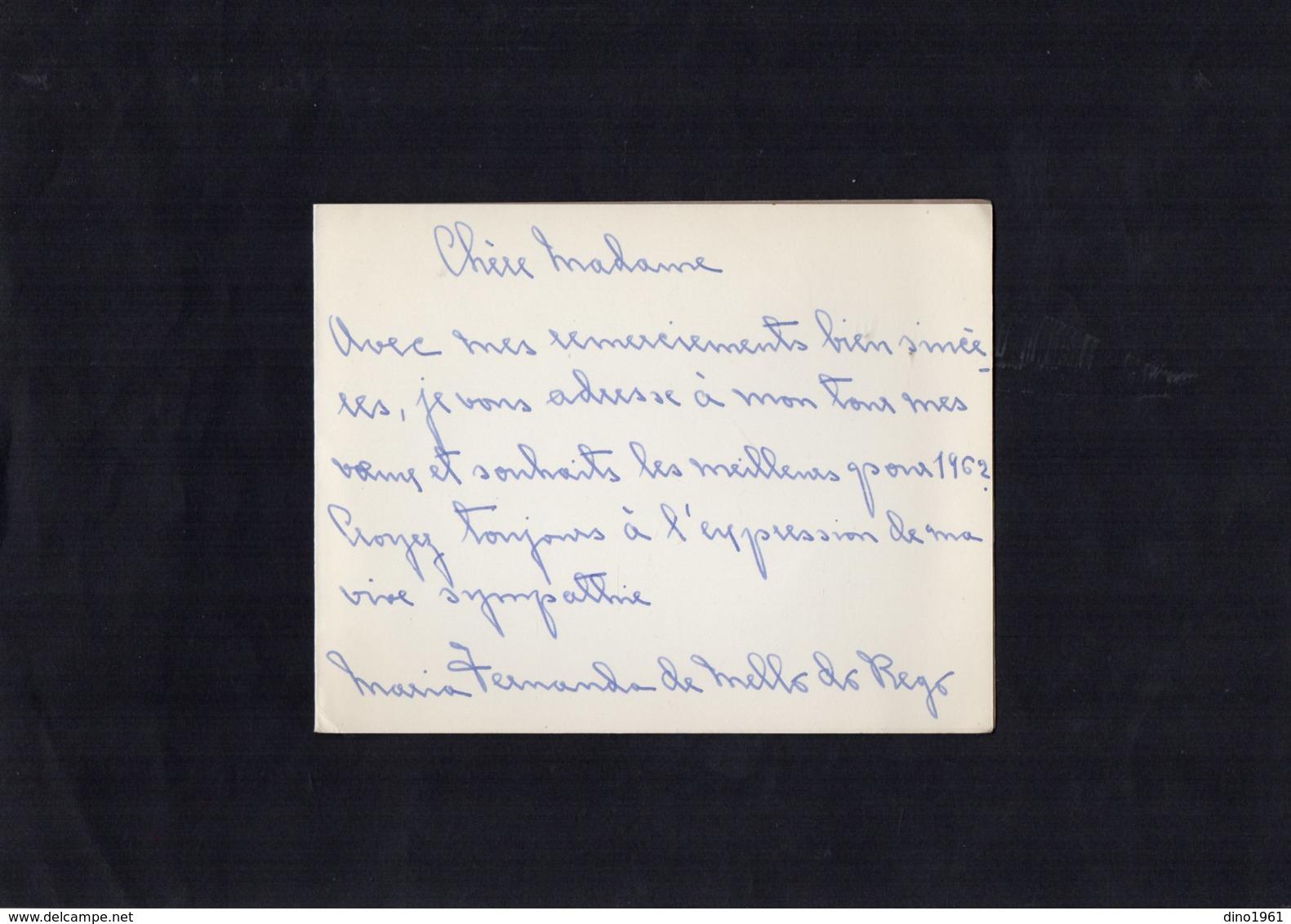 VP13.545 - Portugal - Noblesse - Autographe X 3 De Mme Maria Fernanda De MELLO DO REGO - Autographes