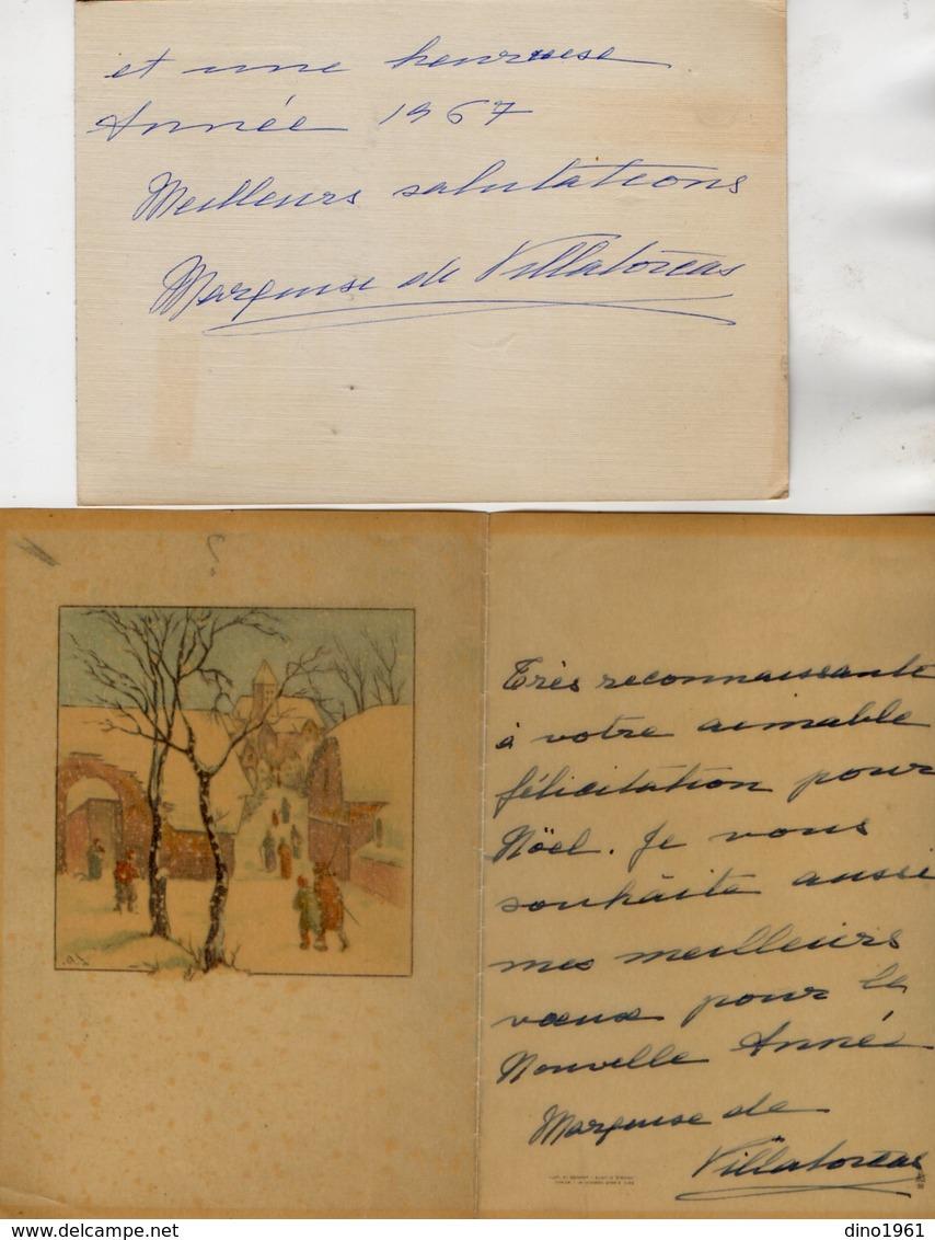 VP13.546 - MADRID 1967 - Noblesse - Autographe X 2 De Mme La Marquise De VILLATORCAS - Autographes