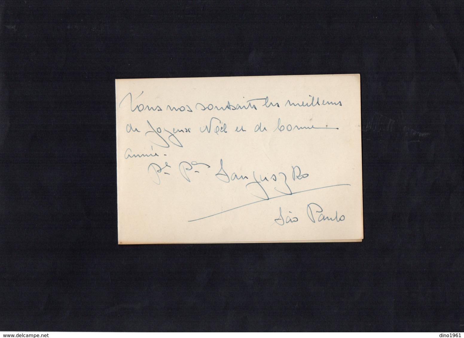VP13.551 - SAO PAULO Brazil  - Noblesse - Autographe Mr Le Prince & Mme La Princesse SANGUSZKO - Autographes